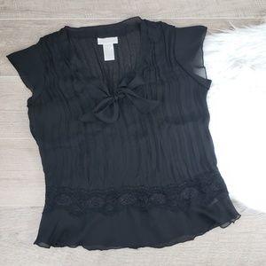 Worthington Woman Black Lace Ripple TOP